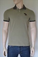 NEW Abercrombie & Fitch Classic Contrast Logo Polo Shirt Olive Moose S
