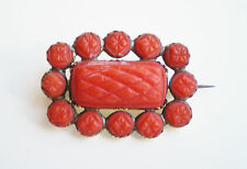 Stunning Antique Georgian Gold Deeply Carved Natural Coral Brooch c1800