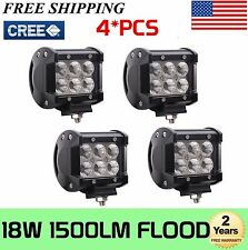 4x 18W CREE LED Work Light Bar 12V 24V Flood Beam Offroad Boat ATV 4X4 SUV Lamp