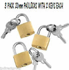 3 PC SET 20MM BRASS SMALL SECURITY PADLOCKS + KEYS BAGS SUITCASE TRAVEL LUGGAGE