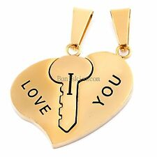 "Stainless Steel Couples Key to Heart Pendants ""I Love You"" Love Necklace 1 Pair"