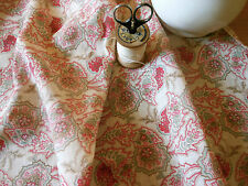 Antique 19thc  Jacobean Paisley Lightweight Lawn Fabric~sage berry red~dolls