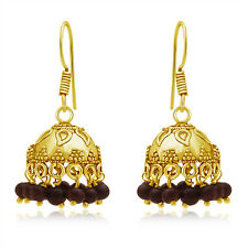 Spargz Beautiful Gold Plating Cherry Color Beads Jhumka Earring AIER 654