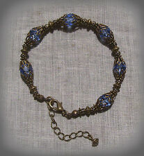 BRASS FILIGREE LT. SAPPHIRE BLUE CRYSTAL STRETCH BRACELET VICTORIAN EDWARDIAN
