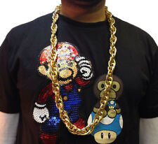 HIP HOP CHAIN NECKLACE • BIG LONG 50cm • GOLD STYLE • COSTUME #185