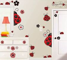 38 New LADYBUG LADYBUGS WALL DECALS Red White Black Stickers Floral Room Decor
