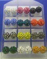NEW 24pcs (12 pairs) 8MM Disco Ball Crystal CZ Steel Stud Pierced Earrings Set B