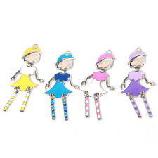 25pcs Wholesale Mixed Color Enamel Rhodium Plated Girls Charms Alloy Pendants C