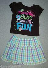 Toddler Girls Skirt Outfit GARANIMALS Plaid BLACK TEE More Sun More Fun 12 Mo