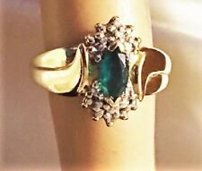 10K Yellow Gold Marquise Cut Green Emerald Diamond Accent Ladies Ring Size 4