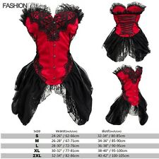 Black Corset Burlesque Basque Fancy Rouge Lace up Boned Corsets and basques FK10