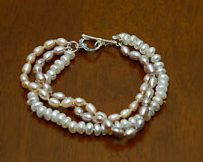 Sterling Silver Twist Multi White Pink Lavender Pearl Bracelet w Heart Toggle