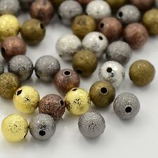 50 pcs Brass Stardust Beads Round 4mm Jewellery Making Mixed Colour