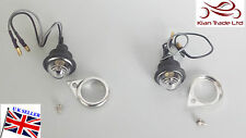 SPARE PARTS BULLET ROYAL ENFIELD PAIR 12v Bulb PILOT LIGHT White + CHROMED RIMS