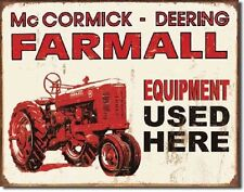 Farmall Tractor Equipment Used Here IH Distressed Retro Vintage Metal Tin Sign