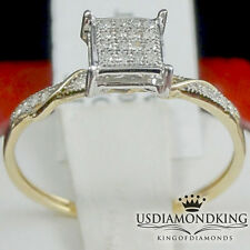 Genuine Diamond 10k Real Yellow Gold Micro Pave Engagement Ring Band Ladies New