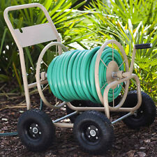 Water Hose Reel Cart 4 Wheel Rolling Gardening Storage Garden Lawn Equipment Kit
