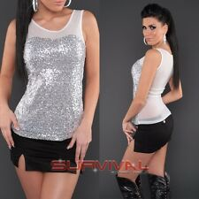 Womens New Sexy White Silver Sleeveless Top with Shimmering Sequins Size 10 12