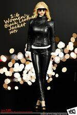 "MCTOYS 1:6 Women's Black PU Leather Jacket Suits Sets For 12"" Female Figure Body"