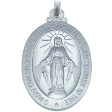 "MENS LARGE STERLING SILVER MIRACULOUS MARY MEDAL PENDANT  NECKLACE & 20"" CHAIN"