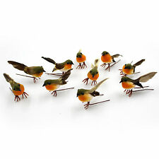 Ten lovely Artificial robin bird feather Christmas tree decoration craft gift