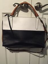 NWT Coach Borough Colorblock Bag Navy/White Boarskin Leather