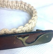 Vintage Belt~Macrame Leather & Brass Whale Buckle ~Small