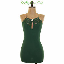 NWOT ANTHROPOLOGIE ELOISE TEXTURED ILLUSION CUT OUT STRAPPY TANK TOP GREEN XS S