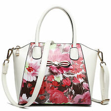 Women Designer Patent Leather Flower Shoulder Handbag Tote Bag Pink