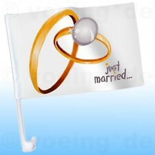 "4x Autofahne ""Just Married"" Motiv: Ringe Auto Fahne Flagge Hochzeit Justmarried"