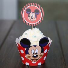 Mickey Mouse cupcake wrappers with picks, pack of 12