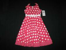 "NEW ""CORAL CIRCLE DOTS"" Dress Girls Clothes 7 Spring Summer Boutique Kids Teen"