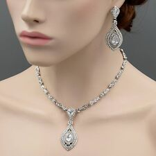 Rhodium Plated Crystal CZ Necklace Pendant Earrings Wedding Jewelry Set 08970