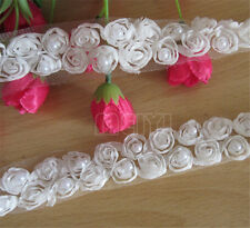 2m 2 Rows Vintage Pearl Rose Flower Lace Trim Wedding Bridal Ribbon Sewing Craft
