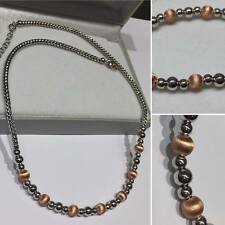 "FANCY SILVER NECKLACE CHAIN WITH ROSE GOLD PLATED BEADS 16""-18"" 019-17"
