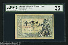 Germany Imperial Treasury Note 5 Mark 10.1.1882 Pick 4 PMG 25 VF