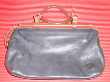 NICE ANN KLEIN POCKET BOOK HAND BAG BLACK SOFT LEATHER