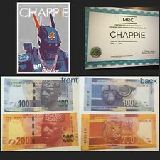 CHAPPiE '100 & 200' Screen Used Movie Props w/ COA (one set of two bills)