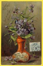 cpa Belle Illustration Dos 1900 style GOLAY Vase Fleurs Bouquet de VIOLETTES