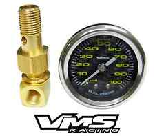 "VMS HONDA ACURA 1 1/2"" 100PSI CARBON FIBER FUEL PRESSURE GAUGE LIQUID FILLED 1/8"