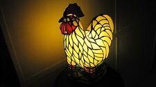 VINTAGE STYLE BOLD COLOR STAINED GLASS CHICKEN TABLE LAMP HOME & GARDEN LIGHT