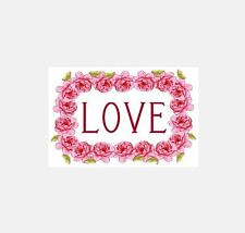"15 ""LOVE"" ROSES STICKERS • Pink Cards Tags Valentine Seals Romantic Floral A-08"