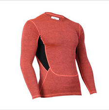 Top Base Layer Top Adult Unisex Long Sleeve Sports Compression Body Fit Red M