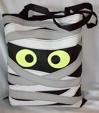 SCARY LARGE HALLOWEEN MUMMY MONSTER BLACK  TOTE BAG CANDY TREATS COSTUME PROP