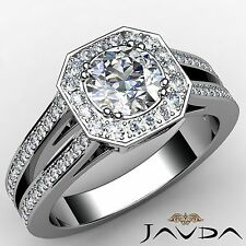 Halo Set Round Diamond Dazzling Engagement Ring GIA F VS1 18k White Gold 2.46ct