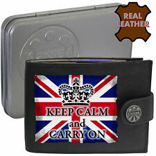 Klassek KEEP CALM And CARRY ON grunge Union Flag jack mens Leather Wallet Funny