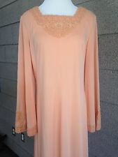 Vintage 60s 70s Seymour Levy for John Lane Long Peach Maxi Goddess Dress Size L