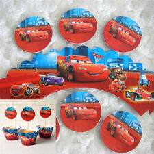 6 Sets Cup Cake Deco(Cake Toppers + Cake Wrappers)Red CARS Party Favor N09 S#