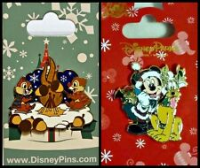 Disney Parks 2 CHRISTMAS Pin Lot Chip & Dale roasting nuts + Mickey Santa Pluto