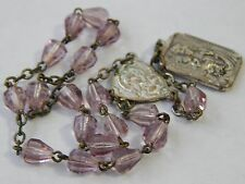 Vintage 1950s St Saint Anne DeBeaupre Pink Glass Crystal Cone Bead Rosary Chaple